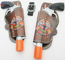2x Toy Guns Dual Cowboy Pistols Silver Peacemaker Revolvers & Holsters Set