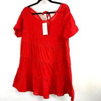 Ellos Red Pure Cotton Tiered Gauze Tunic Top