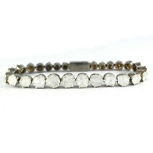 Natural Polki Diamond Bracelet Handmade Designer 925 Sterling Silver Jewelry