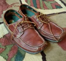 "Earth Shoe ""Ken""  Boat Shoes Irish Setter Red Flat Sole Driving Moccasins Sz 9.5"