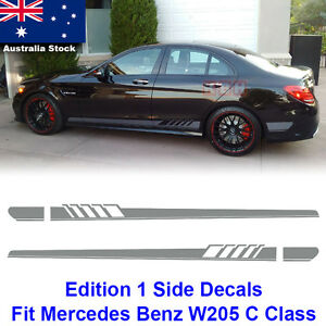Edition 1 Side Stripes Decals Sticker Benz W205 C Class C200 C63 AMG Silver Gray
