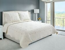 Embroidered 3 Pieces Reversible Bedding Quilt Set, Cream Color, King Size