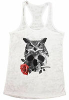 Women's Owl Skull with Rose Burnout Racerback Tank Tops Day of the Dead Gift