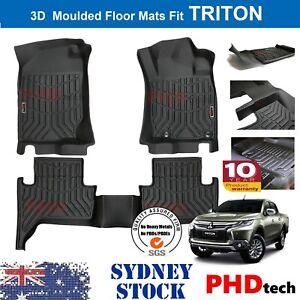 Prime 3D All Weather TPE Floor Mats Liner Fit Mitsubishi Triton MQ 2015-2018
