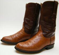 MEN LUCCHESE SMOOTH OSTRICH SKIN BRN COGNAC ROPER COWBOY WESTERN BOOTS 6.5~1/2 D