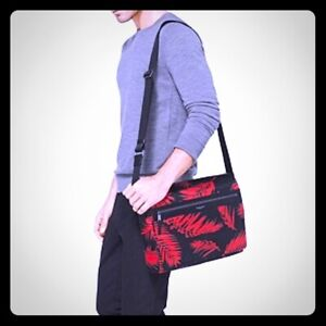 Michael Kors Large Kent Palm Nylon Messenger Bag Red and Black - Sold Out - New