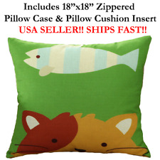 "18x18 18"" 18in CAT Kitten Kitty FISH Animal Zippered Throw Pillow Case & Cushion"