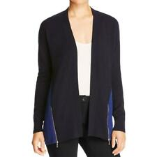 Magaschoni Womens Blue Cashmere Colorblock Side Zip Cardigan Sweater M BHFO 9817