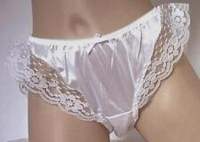 White Frilly Vintage Nylon Panties French Style Knickers    S