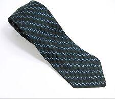Zig Zag BLUE on BLACK SKINNY NECK TIE  Men's Vintage Necktie Thin Acetate Rayon