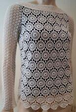 TORY BURCH Black Cream Crochet Cotton & Silk Round Neck Long Sleeve Top 2 UK6