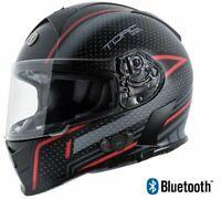 NEW Torc T14B Mako Bluetooth Dual Visor Motorcycle Helmet Scramble Red DOT LARGE