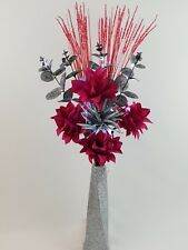 HANDMADE ARTIFICIAL SILK PINK/SILVER FLOWERS, LED LIGHTS, S/GLITTER TWIST VASE