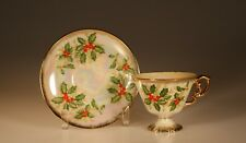 Nippon Xmas Holly and Berry Pearl Lustre Pedestal Cup and Saucer, Japan