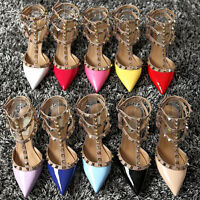 2019  Women's Sandals shoes Pointed Toe T-Strap High Heels Metal Rivet Pumps