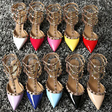 Women's Leather Sandals shoes Pointed Toe T-Strap High Heels Metal Rivet Pumps