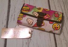 WallFlower Emoji Trifold Wallet Pizza Burger Ice Cream Cone Soda Pop NWT Rainbow