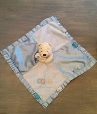 Doudou plat couverture winnie l ourson Disney bleu satin cute