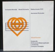 Hindemith Lutoslawski Rowicki Jeunesses musicales/ Weltorchester 1972 LP M CV NM