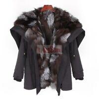 2019 New Women's Real Rabbit & Raccoon & Fox Fur Hooded Lined Coat Jacket Parka