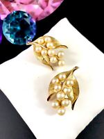 1960'S CROWN TRIFARI FAUX PEARL RHINESTONE LILY OF THE VALLEY CLIP EARRINGS SET