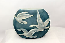 PHOENIX SCULPTED ART GLASS PILLOW VASE IN BLUE STAIN WITH IRIDIZED FLYING GEESE