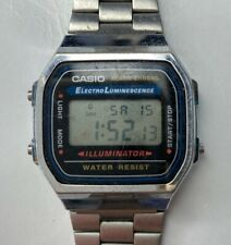 E Casio Alarm Chrono Electro Luminescence Mens LCD 3298 A168 Stainless DH Works