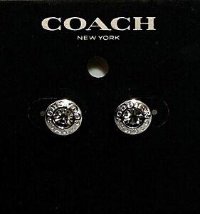 New COACH F54516 Open Circle Stone Stud Earrings Silver F54516