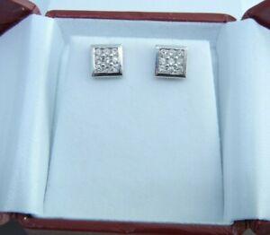 Diamond Square Cluster Studs Earrings 14k White Gold