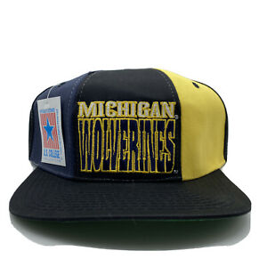 Michigan Wolverines NCAA Vintage Snapback Hat Cap Drew Pearson Navy Gold