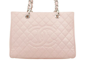 Chanel Grand Shopper Tote Bag GST Pink Blush Caviar Leather Silver Hardware