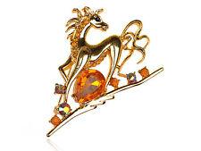 Rhinestone Running Horse Animal Pin Brooch Shiny Golden Tone Topaz Clear Crystal