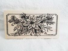 Northwoods rubber stamp Christmas Poinsettia Holly Notched Rectangle