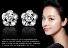 Sterling Silver Swarovski Element Crystal Plum Flower Crystal Stud Earrings B7
