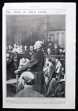 TREASON TRIAL OF PAUL BOLO PASHA FRENCH TRAITOR 1pp PHOTO ARTICLE 1918