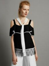 NEW M&S AUTOGRAPH BLACK & WHITE PLEATED TOP WITH LACE  SIZE 12 **RRP £49.50**