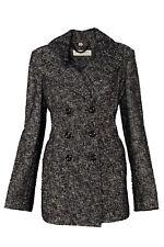 Burberry Black & White Cotton / Wool Blend Trench Jacket UK 16 USA 14 IT 48