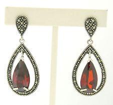 Marcasite Solid .925 Sterling Silver Pear Shaped Red Garnet Dangle Halo Earrings