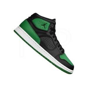 Mens Nike Jordan Access Black Green White Basketball Mid Trainers Size UK 10.5