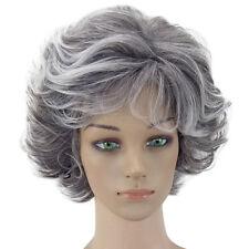 Granny grey Curly Wavy Short Wig Natural Synthetic Hair Masquerade Party