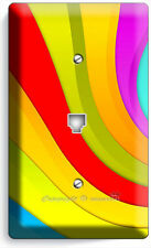 COLORFUL SWIRLY SPIRAL RAINBOW PHONE JACK TELEPHONE WALL PLATE COVER LIVING ROOM