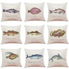"18"" Marine fish Pattern Cotton Linen Cushion Cover Pillow Case Home Decor"