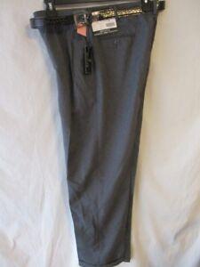 Bocaccio Uomo Dacron 32 x 31  Gray Heather Pleat Front Belted Dress Pants NEW
