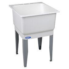 "25"" 20-Gallon White Freestanding Portable Laundry Wash Utility Tub Sink w/ Drain"