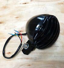 """Black Headlight 5"""" Alloy Finned Grill Harley XS650 Bobber Chopper Harley Custom"""