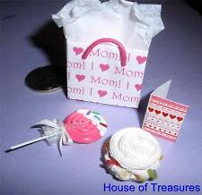 DOLLS HOUSE MINIATURE **BAG FOR MUM **I LOVE MOM**+CARD +MERINGUE +LOLLIPOP