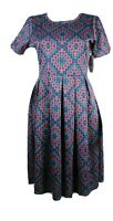 LulaRoe Amelia women's dress multicolor short sleeve with pockets size M