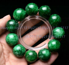Huge 20mm Natural Green Emerald Gemstone Round Beads Elastic Bracelets 7.5''