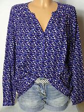 PROMOD Bluse Gr. 36-38 lila/creme-weiß Muster Oversize Bluse/Tunika