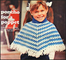Vintage Knitting Pattern • Childrens Girls Kids • Polo Collar Poncho Top  22-26""